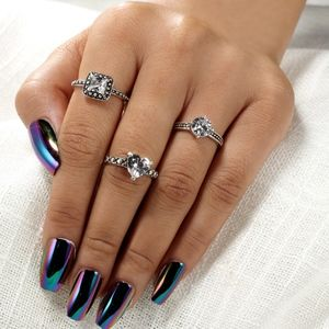 Jewelry - Heart Square Round-cut Crystal Knuckle MIDI Rings